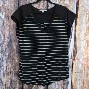 Adrienne Vittadini Black/White Striped Pleat Tee L